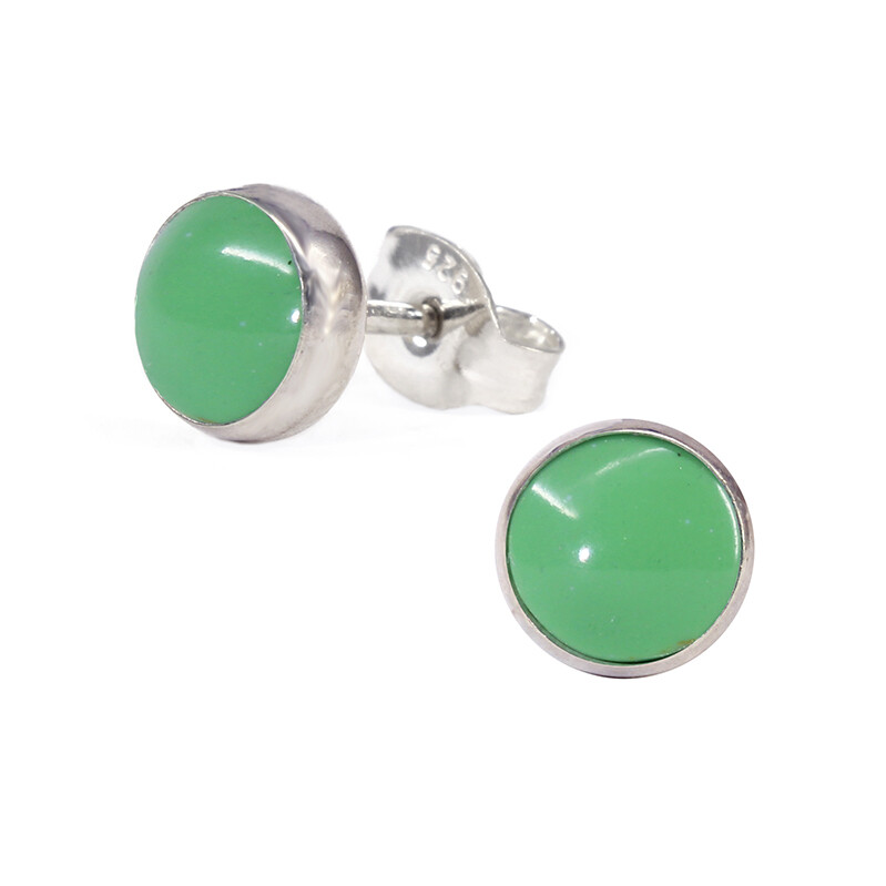Gaspeite 6mm Sterling Silver Circle Posts - P6-GSP