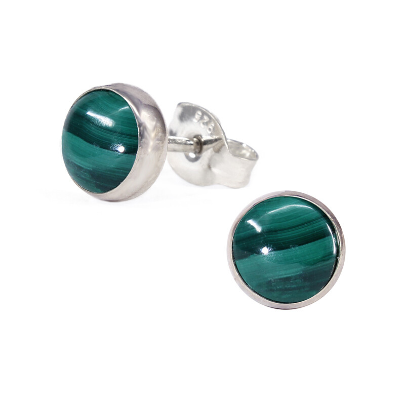 Malachite 6mm Sterling Silver Circle Posts - P6-MAL