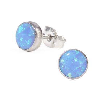 Opalescent 6mm Sterling Silver Circle Posts - P6-BOP