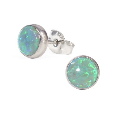 Opalescent 6mm Sterling Silver Circle Posts - P6-LGOP