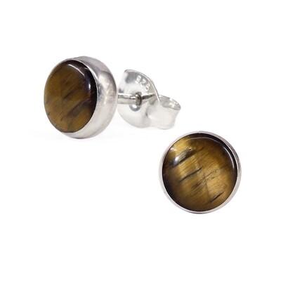 Tiger Eye 6mm Sterling Silver Circle Posts - P6-TE