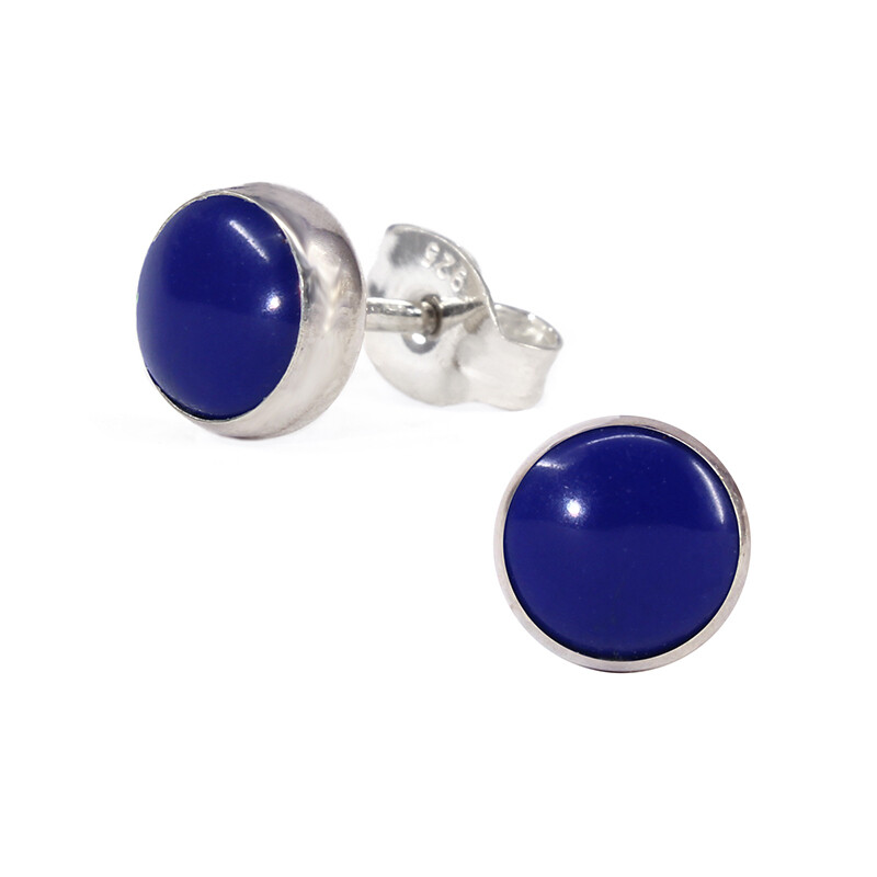 Navy Colored 6mm Sterling Silver Circle Posts - P6-LP