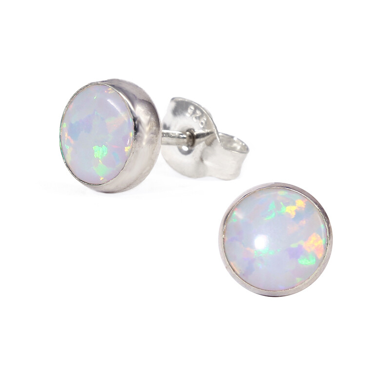 Opalescent 6mm Sterling Silver Circle Posts - P6-WOP