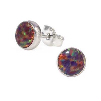 Opalescent 6mm Sterling Silver Circle Posts - P6-ROP