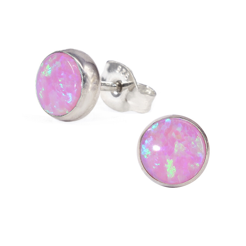 Opalescent 6mm Sterling Silver Circle Posts - P6-POP