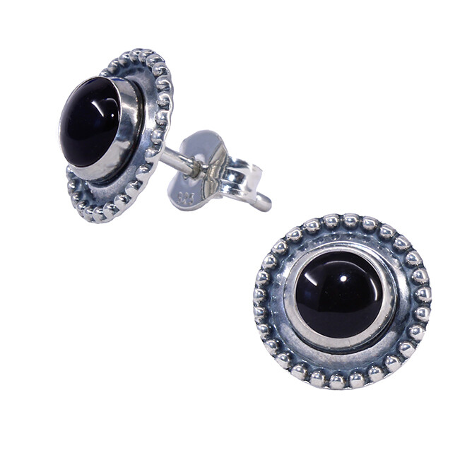 Black Sterling Silver Dotted Posts - P13-BO