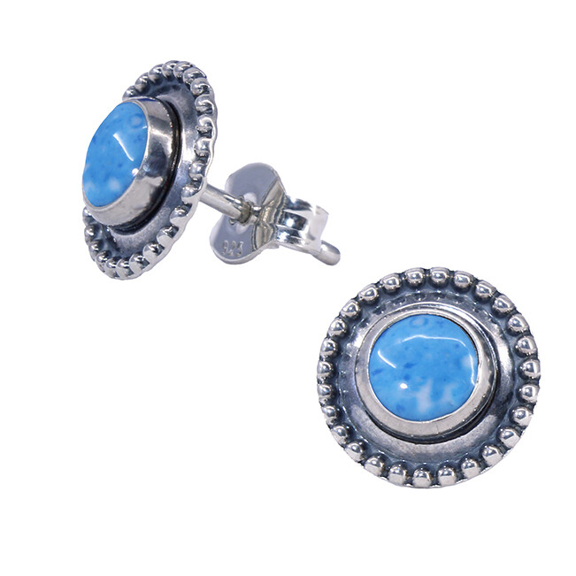 Denim Colored Sterling Silver Dotted Posts - P13-DL