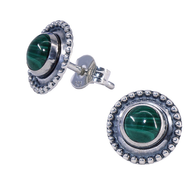Malachite Sterling Silver Dotted Posts - P13-MAL