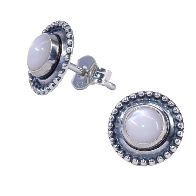 Mother of Pearl Sterling Silver Dotted Posts - P13-MOP