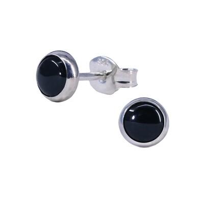 Black 5mm Sterling Silver Circle Posts - P5-BO