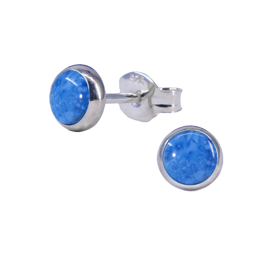 Denim Colored 5mm Sterling Silver Circle Posts - P5-DL