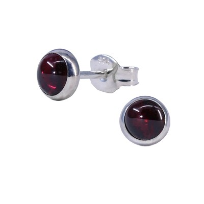 Garnet 5mm Sterling Silver Circle Posts - P5-GAR