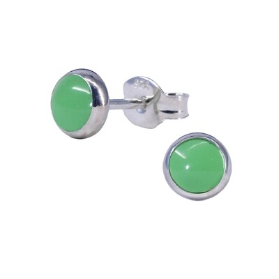 Gaspeite 5mm Sterling Silver Circle Posts - P5-GSP