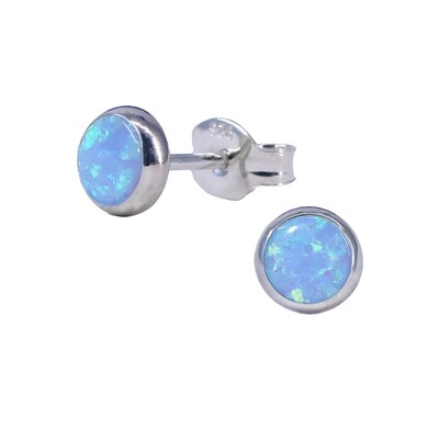 Opalescent 5mm Sterling Silver Circle Posts - P5-BOP