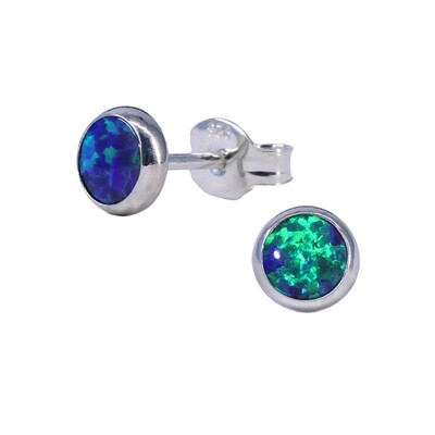 Opalescent 5mm Sterling Silver Circle Posts - P5-DGOP