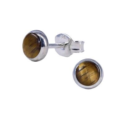 Tiger Eye 5mm Sterling Silver Circle Posts - P5-TE