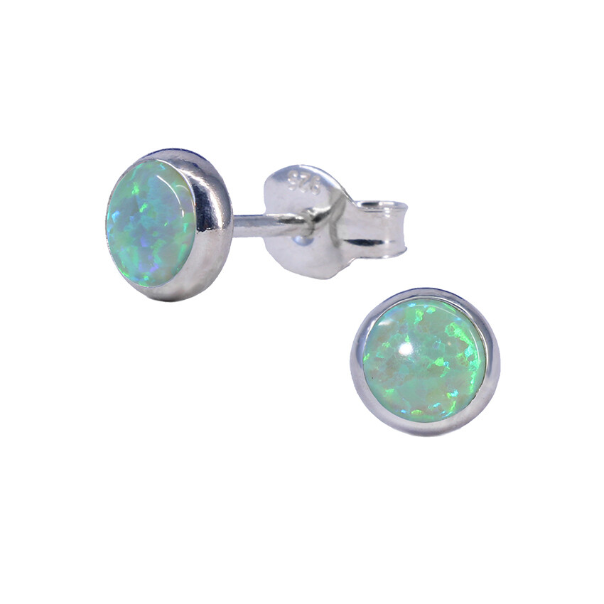 Opalescent 5mm Sterling Silver Circle Posts - P5-LGOP