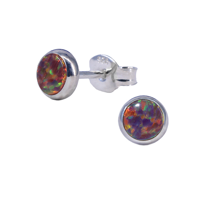 Opalescent 5mm Sterling Silver Circle Posts - P5-ROP