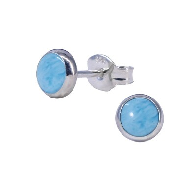Sky Colored 5mm Sterling Silver Circle Posts - P5-LAR
