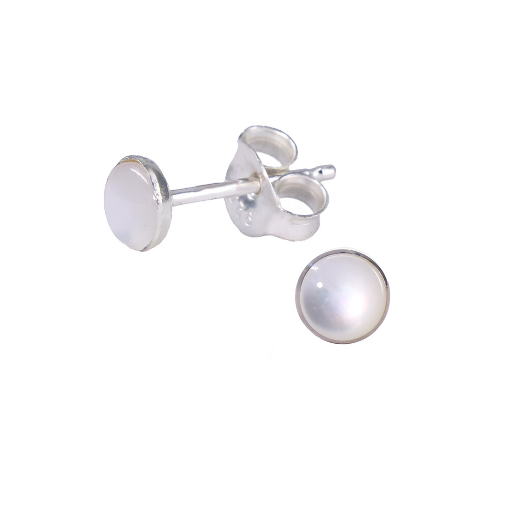Mother of Pearl 4mm Sterling Silver Circle Posts - P4-MOP