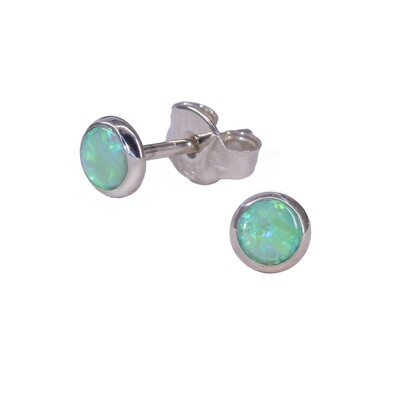 Opalescent 4mm Sterling Silver Circle Posts - P4-LGOP