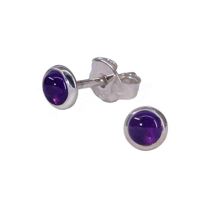 Amethyst 4mm Sterling Silver Circle Posts - P4-AMY