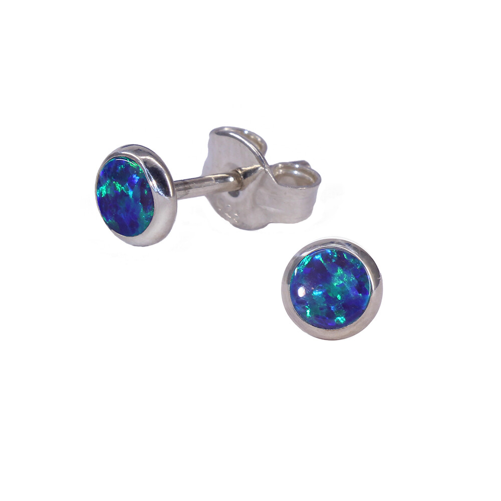 Opalescent 4mm Sterling Silver Circle Posts - P4-DGOP