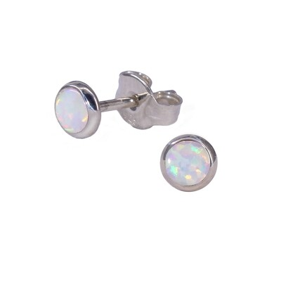 Opalescent 4mm Sterling Silver Circle Posts - P4-WOP