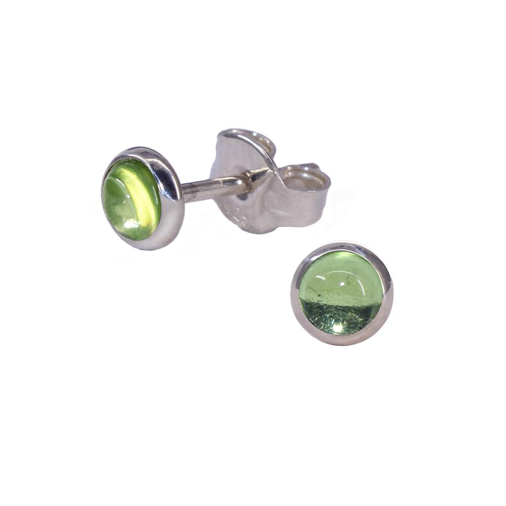 Peridot 4mm Sterling Silver Circle Posts - P4-PER