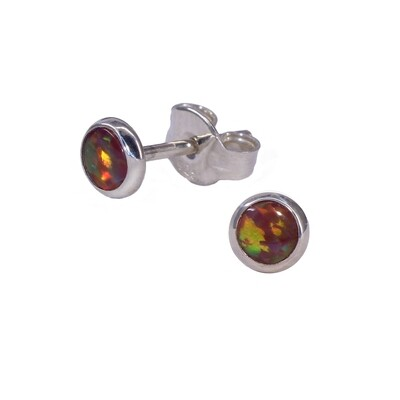 Opalescent 4mm Sterling Silver Circle Posts - P4-ROP