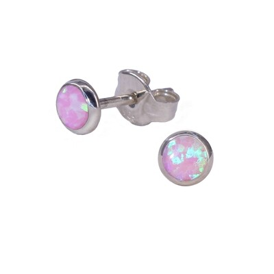 Opalescent 4mm Sterling Silver Circle Posts - P4-POP