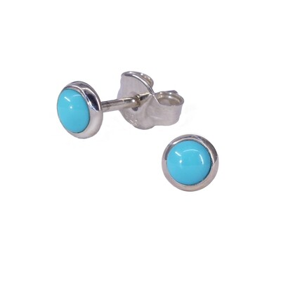 Turquoise Colored 4mm Sterling Silver Circle Posts - P4-TQ