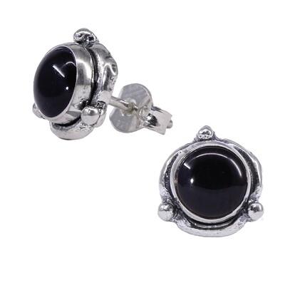 Black Sterling Silver Triple Dot Posts - P14-BO