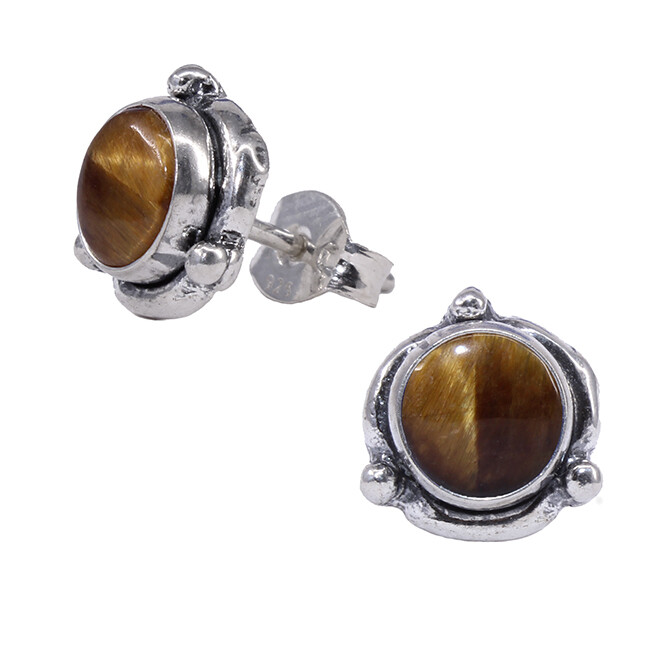 Tiger Eye Sterling Silver Triple Dot Posts - P14-TE
