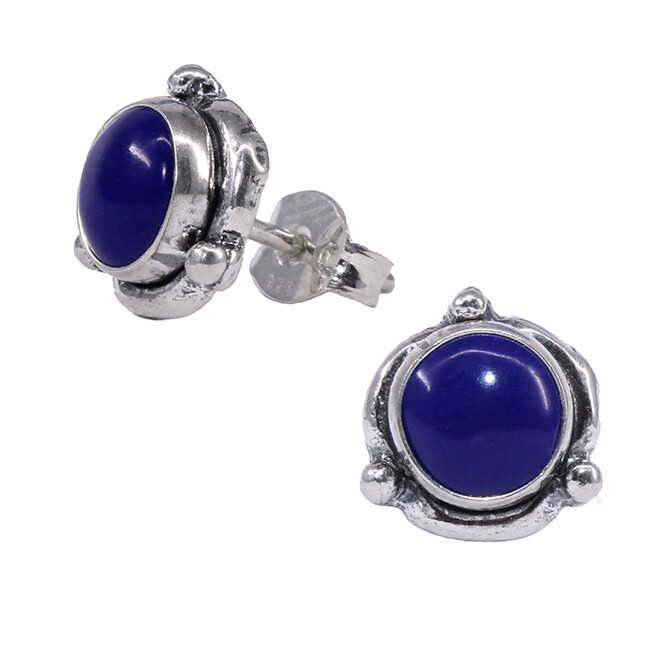 Navy Colored Sterling Silver Triple Dot Posts - P14-LP