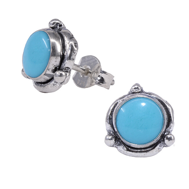 Turquoise Colored Sterling Silver Triple Dot Posts - P14-TQ