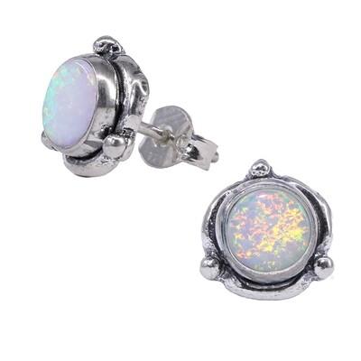 Opalescent Sterling Silver Triple Dot Posts - P14-WOP