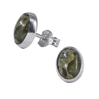 Green Agate 6x8mm Sterling Silver Oval Posts - P11-GrAg