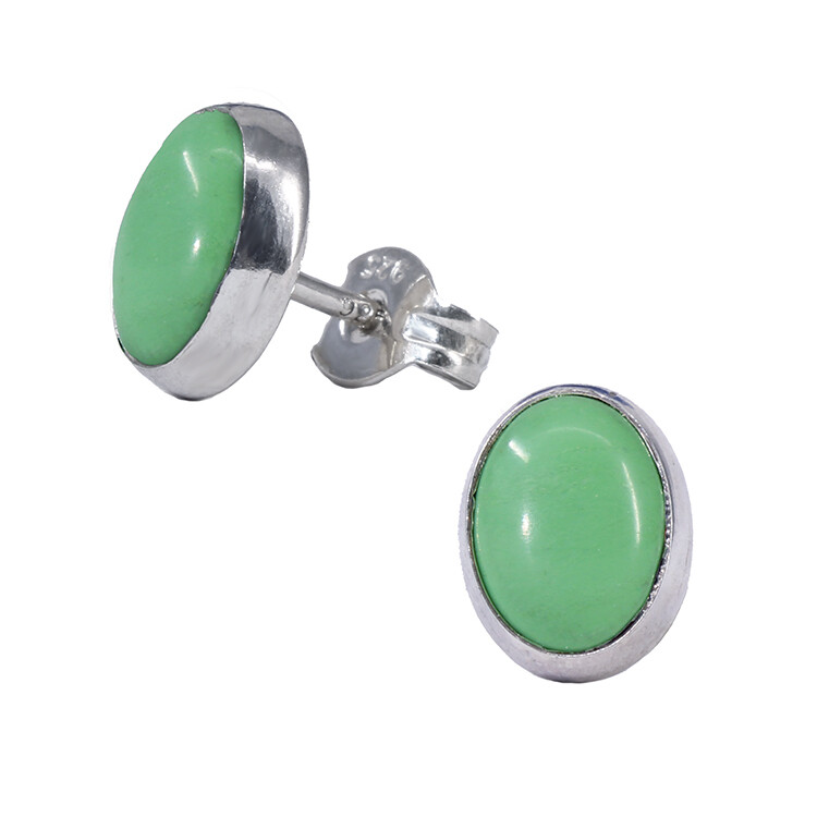 Gaspeite 6x8mm Sterling Silver Oval Posts - P11-GSP