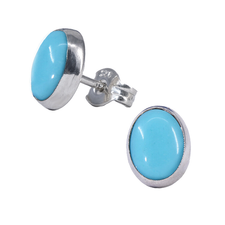 Turquoise Colored 6x8mm Sterling Silver Oval Posts - P11-TQ