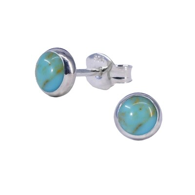 Turquoise Colored 5mm Sterling Silver Circle Posts - P5-TQ