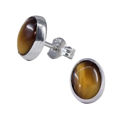 Tiger Eye 6x8mm Sterling Silver Oval Posts - P11-TE