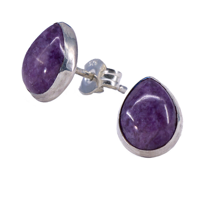 Charoite 8mm Sterling Silver Teardrop Posts - P10-CHR