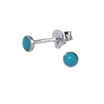 Turquoise Colored 3mm Sterling Silver Circle Post - #301