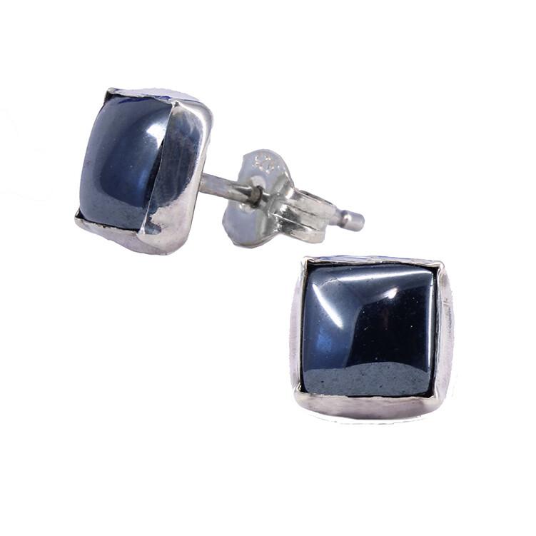Hematite 6mm Sterling Silver Square Posts - P7-HEM