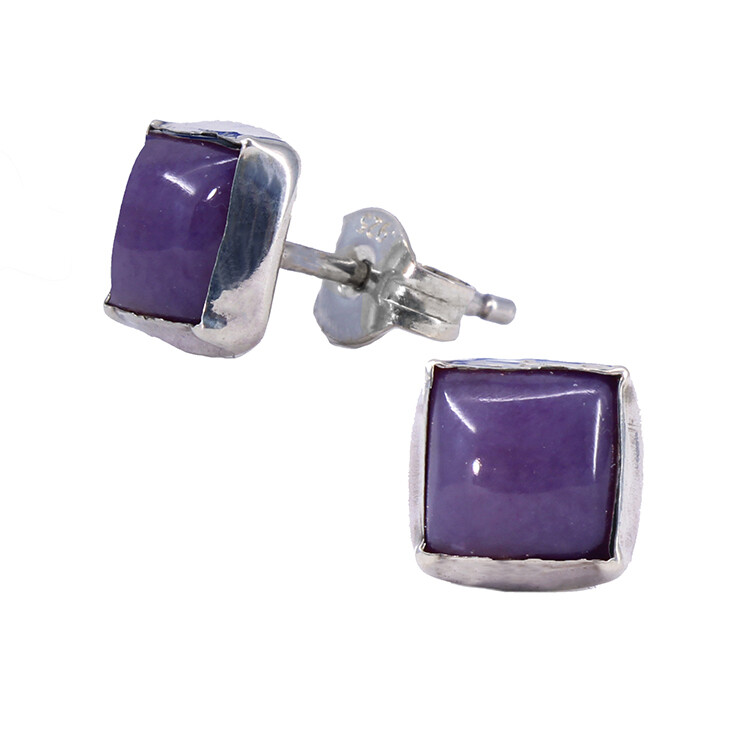 Charoite 6mm Sterling Silver Square Posts - P7-CHR