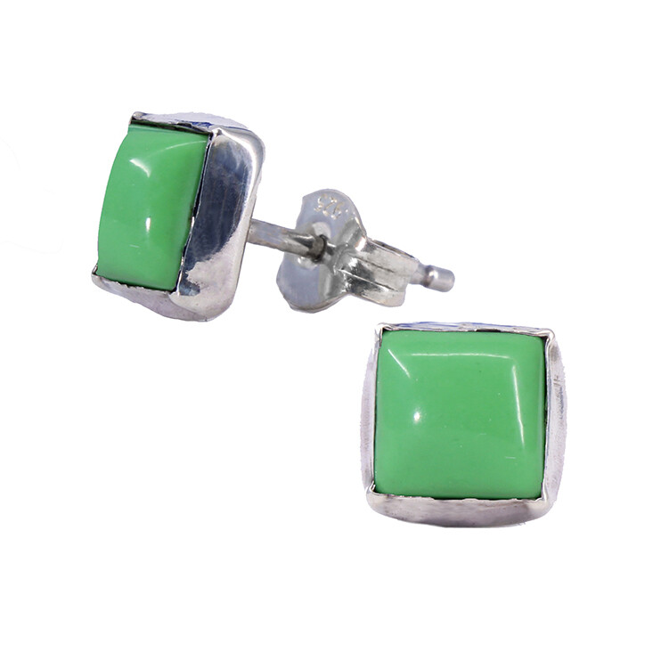 Gaspeite 6mm Sterling Silver Square Posts - P7-GSP