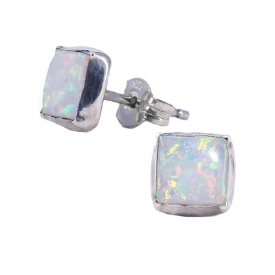 Opalescent 6mm Sterling Silver Square Posts - P7-WOP