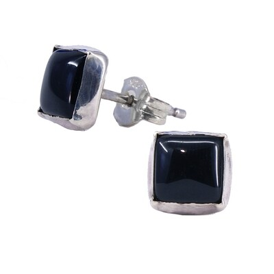 Black 6mm Sterling Silver Square Posts - P7-BO