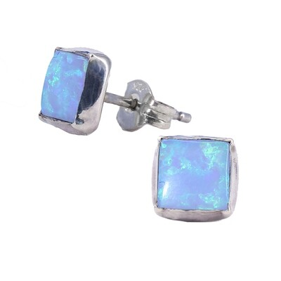 Opalescent 6mm Sterling Silver Square Posts - P7-BOP